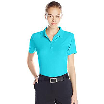 GREG NORMAN LADIES PERFORMANCE MICRO PIQUE POLO TURQUOISE