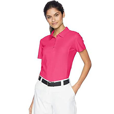 GREG NORMAN LADIES PROTEK MICRO PIQUE POLO PINK TAFFY